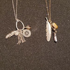 Feather tassel cluster necklaces - lot of 2 NWOT